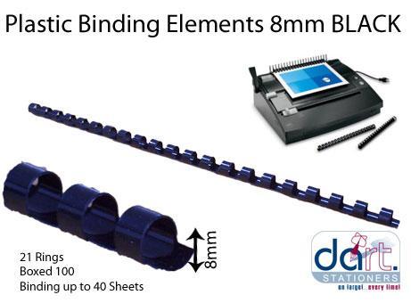 BINDING ELEMENTS  8MM BLACK