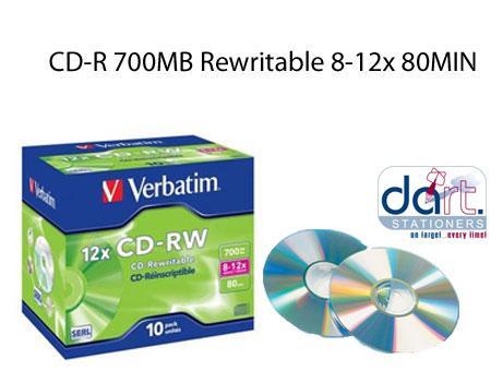 CD-RW 700MB  8-12x 80MIN REWRITABLE VERBATIM