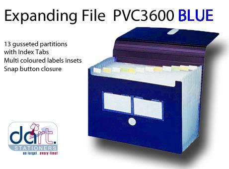 EXPANDING FILE PVC 3600 BLUE
