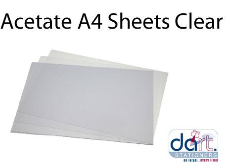 ACETATE A4 SHEETS CLEAR