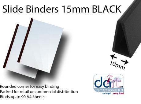 SLIDE BINDERS 10MM BLACK