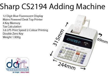 CALCULATOR SHARP CS2194 ADDING MACHINE | Dart Stationery