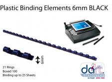 BINDING ELEMENTS  6MM BLACK