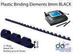 BINDING ELEMENTS  8MM BLACK