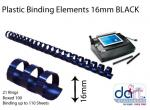 BINDING ELEMENTS 16MM BLACK